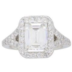 GIA Certified 1.77 Carat Emerald Cut Halo Diamond Engagement Ring