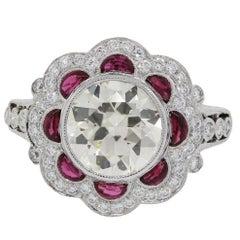 3.50 Carats Round Brilliant Diamonds 1 Carat Rubies Platinum Engagement Ring