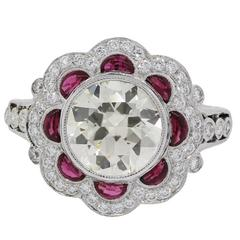 3.50 Carats Round Brilliant Diamonds 1 Carat Rubies Platinum Engagement Ring