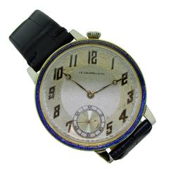 J. E. Caldwell Two Color Gold Handmade Enamel Bezel Manual Pocket Wristwatch