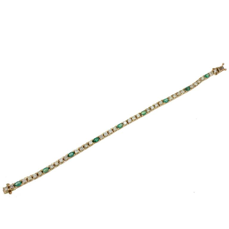 Luise Gold Diamond Emerald Tennis Bracelet