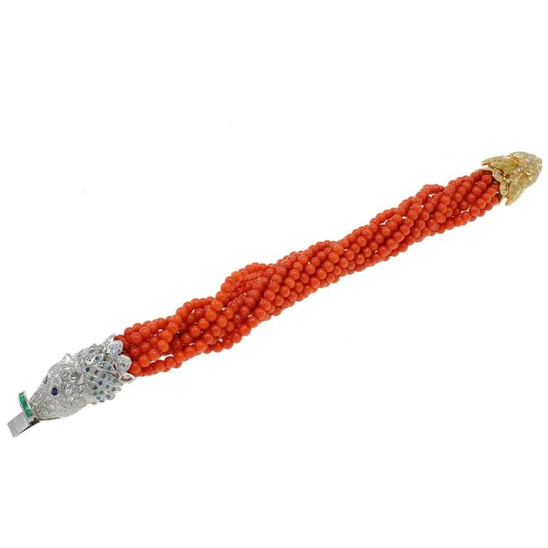 ct 4,91 Emerald Ruby Sapphire Diamond and Italian coral Gold Twist Bracelet