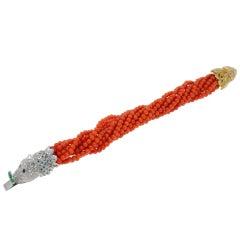 Emeralds, Rubies,Sapphires,Diamonds,Red Beaded Corals,Gold Twist Bracelet