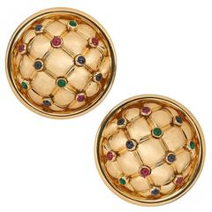 Chaumet Ruby Emerald Sapphire Gold Earrings