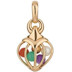 Bvlgari Multi Gemstone Gold Heart Pendant