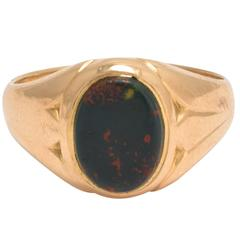 Antique Victorian Bloodstone Oval Gold Signet Ring