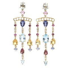 Dubini Theodora Aquamarine Moonstone Rubellite Diamond Gold Chandelier Earrings