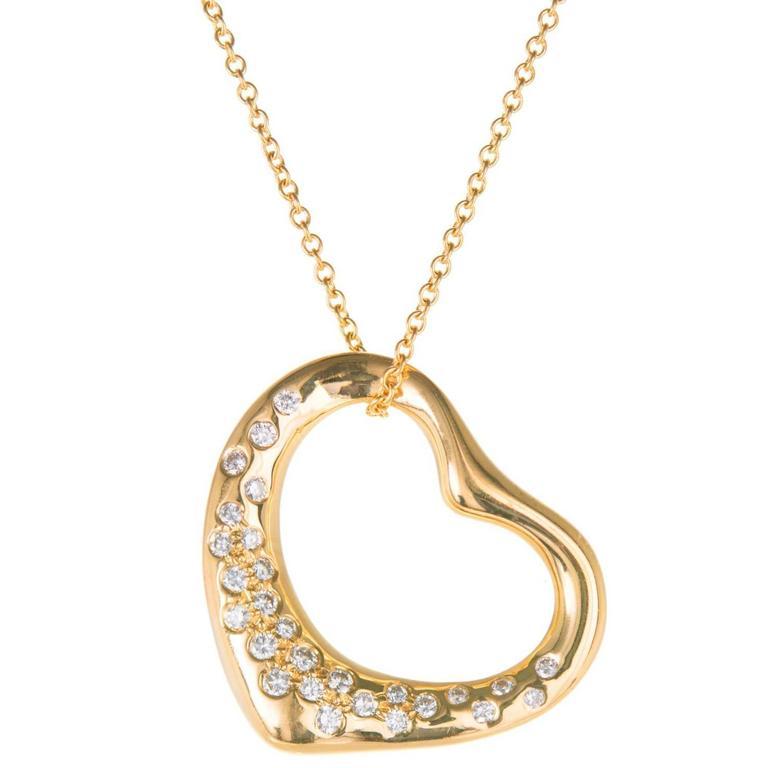 e334fafc7 Tiffany & Co. Elsa Peretti Diamond Gold Heart Pendant Necklace For Sale.  Tiffany & Co Elsa Peretti 18k yellow gold medium Diamond open ...