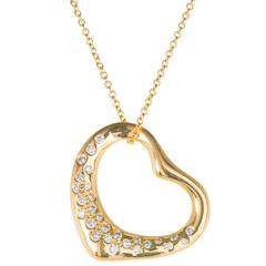 Tiffany & Co. Elsa Peretti Diamond Gold Heart Pendant Necklace