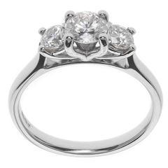 Platinum 1.00 Carat Diamond Trilogy Ring