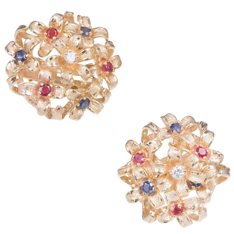 Sapphire Ruby Diamond Gold En Tremblant Clip Post Earrings