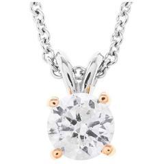 18 Carat Gold & Platinum 1.00 Carat Diamond Solitaire Pendant