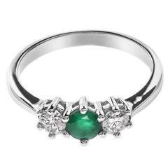 18 Carat White Gold Emerald & Diamond Trilogy Ring