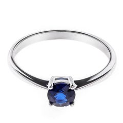 18 Carat White Gold Solitaire Sapphire Ring