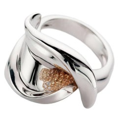 Petronilla Calla White Diamond Yellow Sapphire 18Kt Gold Ring Italian Style
