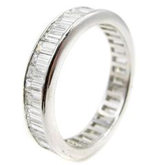 Baguette Diamond Platinum Eternity Band Ring