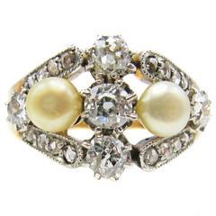 Belle Époque Diamond Natural Pearl Platinum Gold Ring
