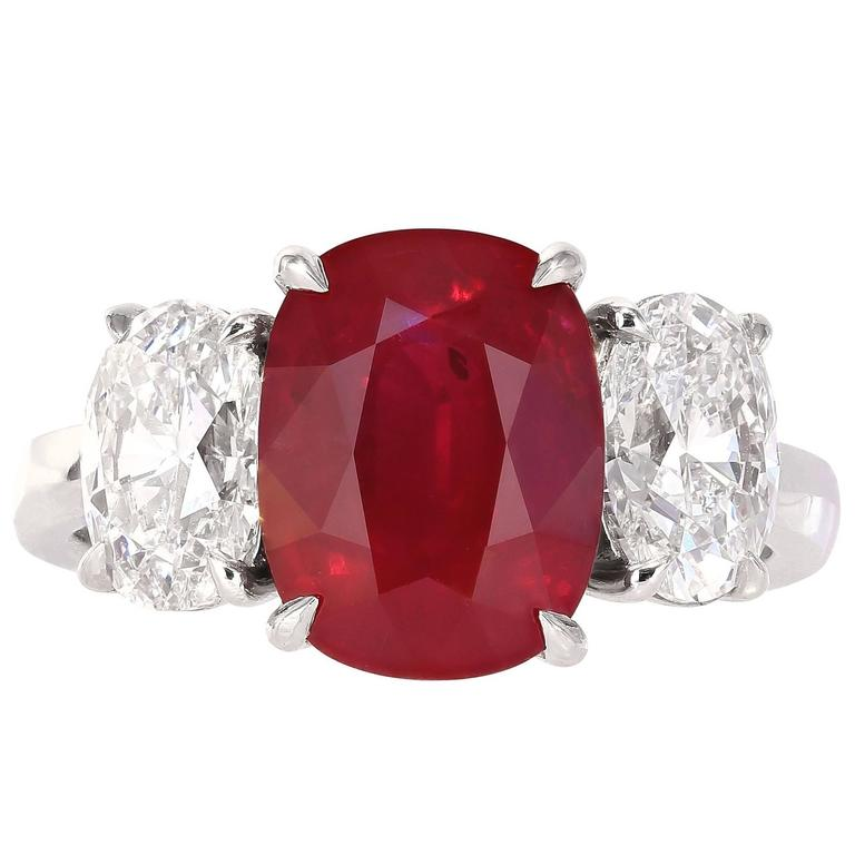 GRS Certified 4.23 Carat Burmese Pigeon's Blood Red Ruby Ring 1