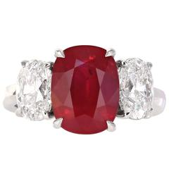 GRS Certified 4.23 Carat Burmese Pigeon's Blood Red Ruby Ring