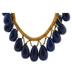 Polished Cabochon Sapphire Necklace
