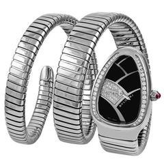 Bulgari Ladies Stainless Steel Diamond Serpenti Quartz Wristwatch