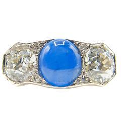 Art Deco Sapphire Diamond Platinum Trilogy Ring