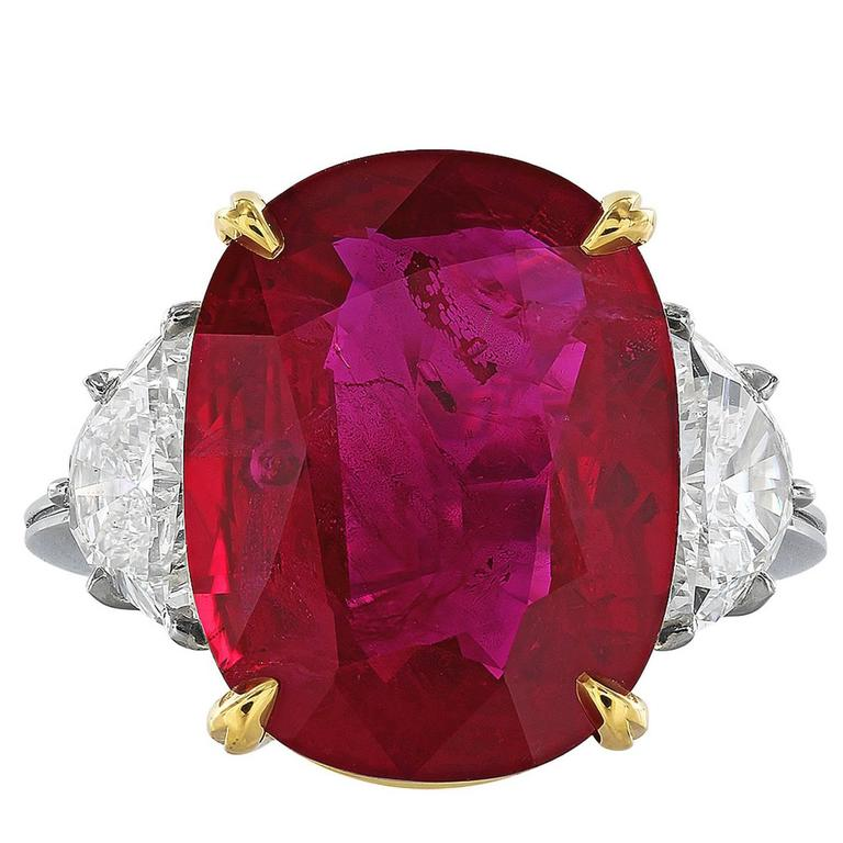 AGL Certified 10.24 Carat Thai Ruby Diamond Three Stone Ring For Sale