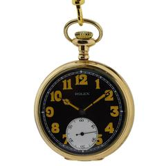 Rolex Yellow Gold Filled Open Faced Military Style Pocket Watch