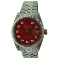 Rolex Stainless Steel Datejust Red Diamond Dial Watch
