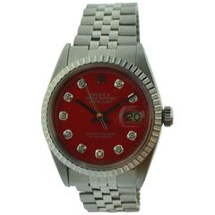 Rolex Stainless Steel Datejust Red Diamond Dial Wristwatch