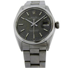 Rolex Stainless Steel Perpetual Date Patinated Charcoal Linen Dial Watch