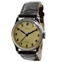 Longines Stainless Steel Sweep Seconds Military Style Wristwatch