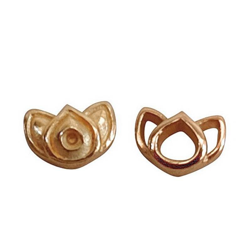 Luca Jouel Rose Gold Mismatching Lotus Stud Earrings