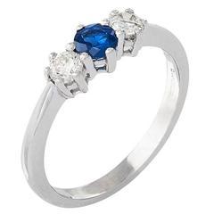 18 Carat White Gold Sapphire & Diamond Trilogy Ring