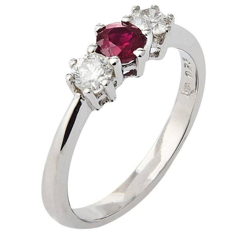 8ff85f1f56420 18 Carat White Gold Ruby & Diamond Trilogy Ring