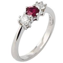 18 Carat White Gold Ruby & Diamond Trilogy Ring