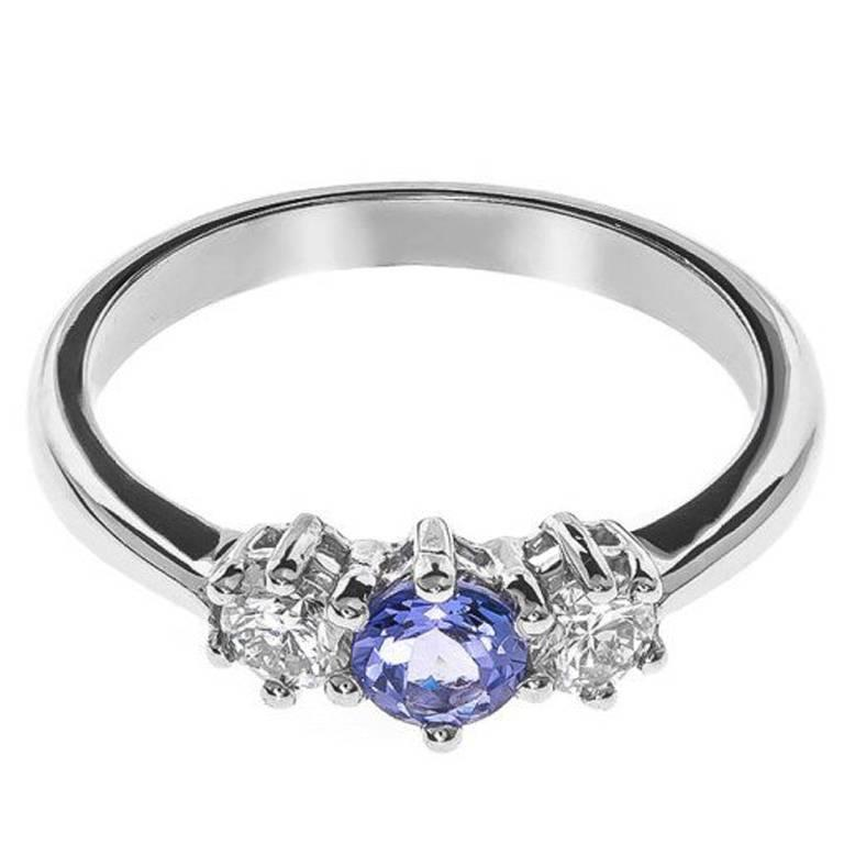 18 Carat White Gold Tanzanite & Diamond Trilogy Ring 1