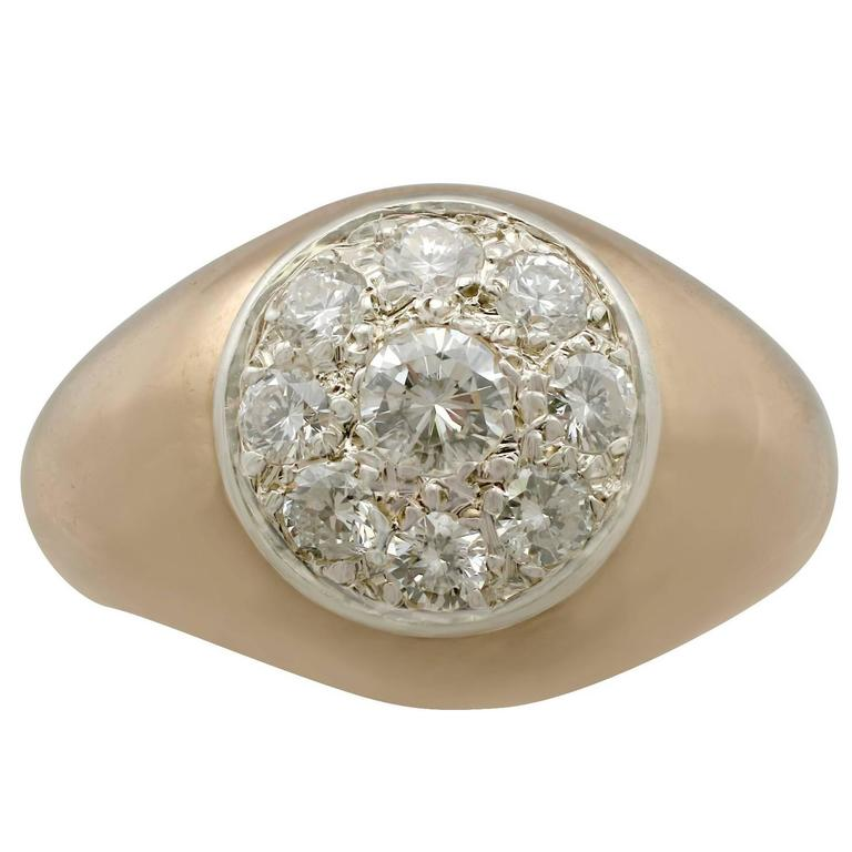 Diamond & Yellow Gold Cluster Ring, 1940s