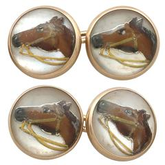 Antique Victorian Essex Crystal & Yellow Gold Horse Cufflinks