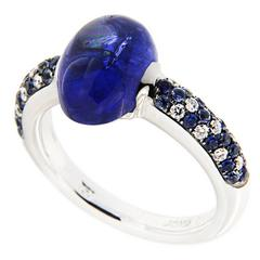 Jona Tanzanite Sapphire Diamond Gold Solitaire Ring
