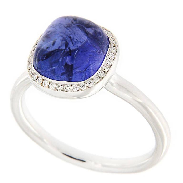 Jona Cabochon Tanzanite White Diamond 18k White Gold Solitaire Ring
