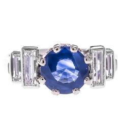 Art Deco Platinum 1.86 Carat Sapphire & Diamond Ring