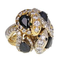 Sapphire Diamond Gold Serpent Ring