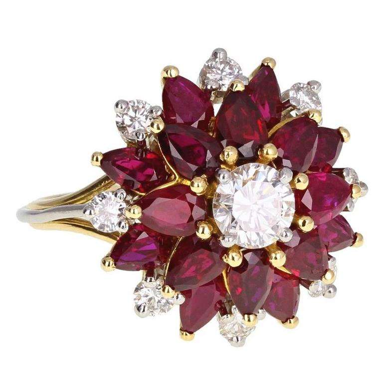 Pear Shaped Ruby Diamond Flower Cluster Ring At 1stdibs
