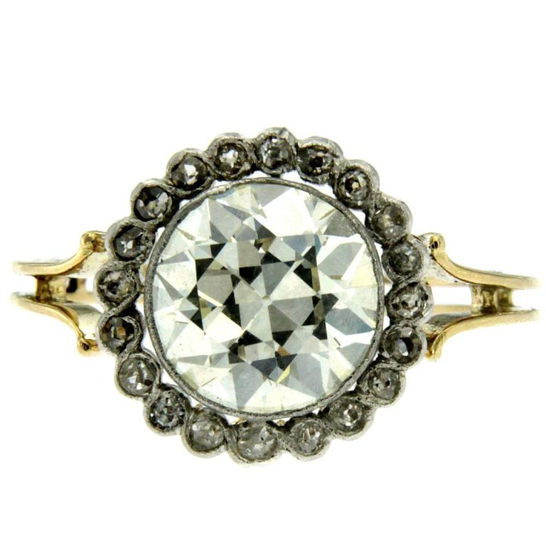 Victorian 3 Carat Diamond Gold Ring For Sale