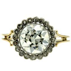 Victorian 3 Carat Diamond Gold Ring