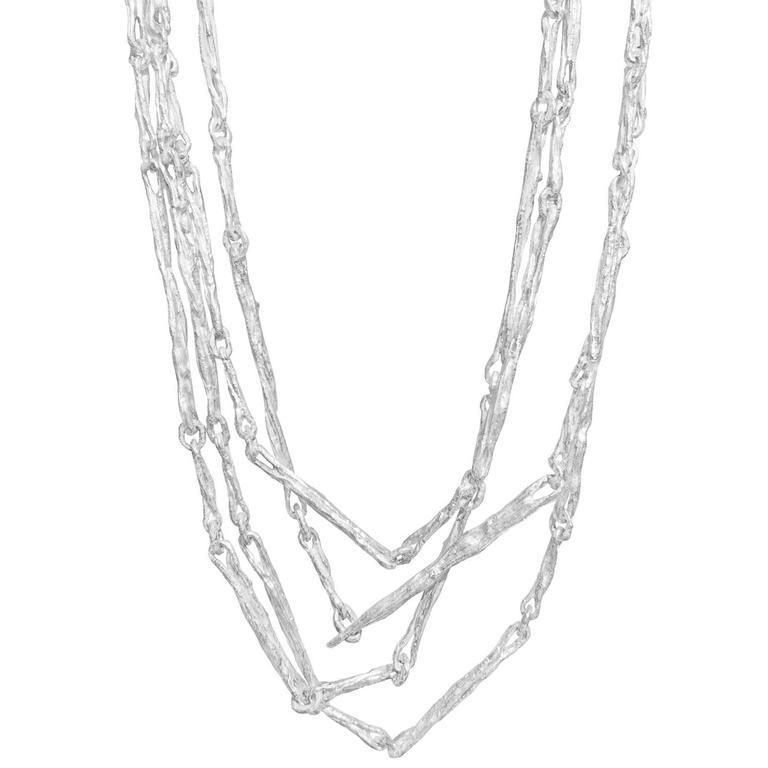 John Iversen White Sterling Silver Random Sticks Multiwrap Chain Necklace