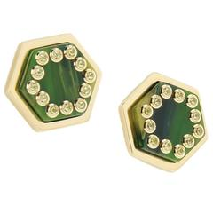 Mark Davis Bakelite Peridot Yellow Gold Stud Earrings