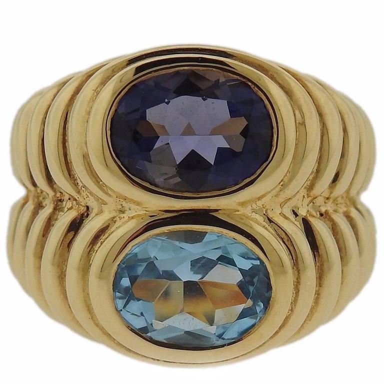 Bulgari Iolite Topaz Gold Ring