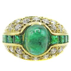 Colombian Cabochon Emerald Diamond Gold Ring
